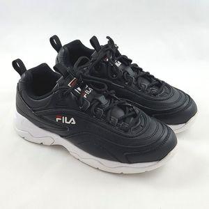 FILA Women's Disarray Black Leather Synthetic Snea